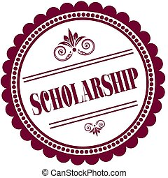 Purple stamp with SCHOLARSHIP . Illustration image concept