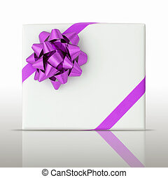 Purple star and Oblique line ribbon on White paper box and reflect on floor