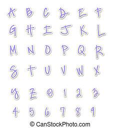 Purple Sticker Style ABC's