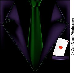 purple suit and ace of hearts - the image of a mans suit...
