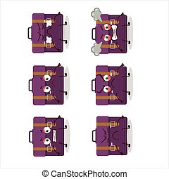 Purple suitcase cartoon character with various angry expressions