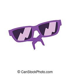 Purple sunglasses cartoon vector Illustration