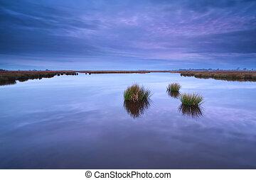 purple sunrise over wild lake - purple autumn sunrise over...