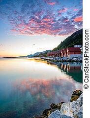 Purple sunset at Jorpeland