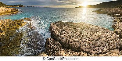 purple sunset beach of Mediterranean Sea