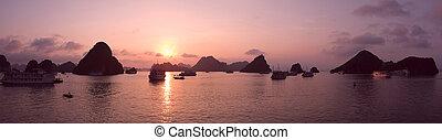 Purple sunset in Halong Bay, panorama