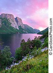 Purple sunset in Norway