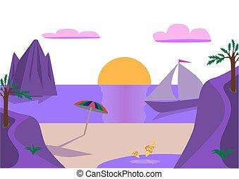 Purple sunset on the sea