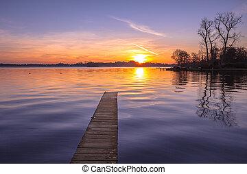 Purple Sunset over quite Lake