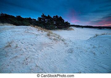 purple sunset over sand dunes