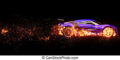 Purple super sports car - wheels on fire