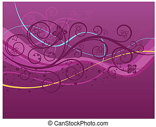 Purple swirls, waves and butterflies background. This image...