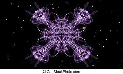 Purple symmetric fractal patterns with white flying lights. ...