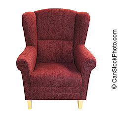 Purple Textile Armchair Isolated Included Clipping Path