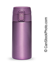 Purple thermos collection isolated on white background