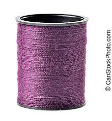 Purple thread spool isolated on white background