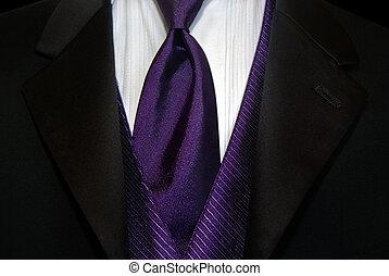 Purple Tie - Purple tie accenting a black tuxedo.