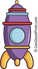 Purple toy rocket icon, cartoon style
