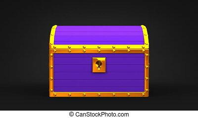 Purple Treasure Chest On Black Background. 3DCG render...