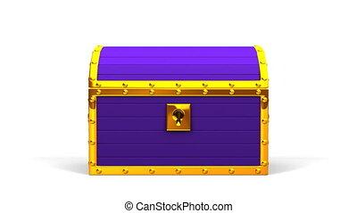Purple Treasure Chest On White Background. 3DCG render...