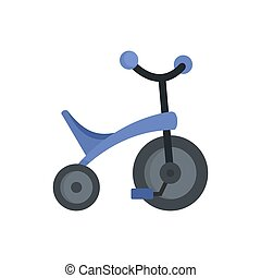 Purple tricycle icon, flat style