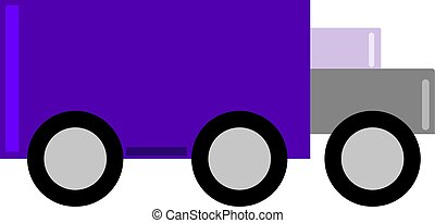 Purple truck, illustration, vector on white background.
