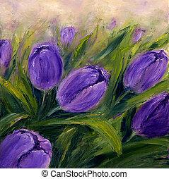 Purple tulips - Original oil painting showing purple tulip ...