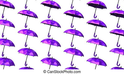 Purple Umbrellas On White Background. Loop able 3DCG render...