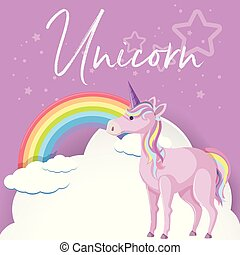 Purple unicorn and rainbow in sky
