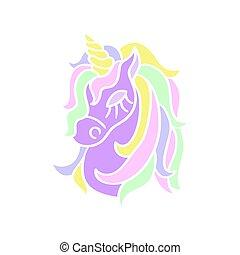 Purple unicorn head icon on the white background