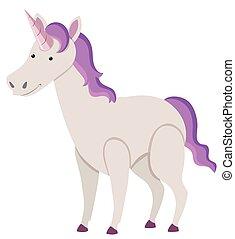 Purple unicorn on white background