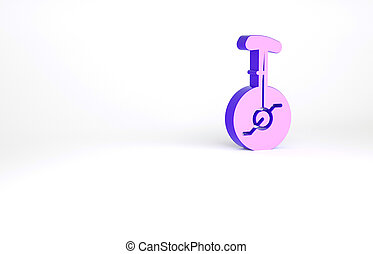 Purple Unicycle or one wheel bicycle icon isolated on white background. Monowheel bicycle. Minimalism concept. 3d illustration 3D render