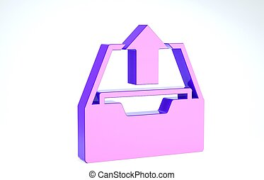 Purple Upload inbox icon isolated on white background. Extract files from archive. 3d illustration 3D render