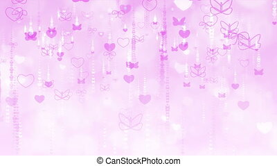 Purple Valentine's Day Background with Butterflies and Hearts.