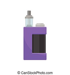 Purple vaporizer with glass tank for liquid. Electronic cigarette. Device for vaping. Flat vector design