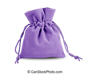 Purple velvet bag isolated on white background.