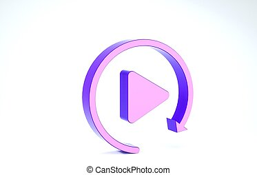 Purple Video play button like simple replay icon isolated on white background. 3d illustration 3D render