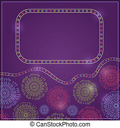 Purple Vintage Card with Ring Decoration