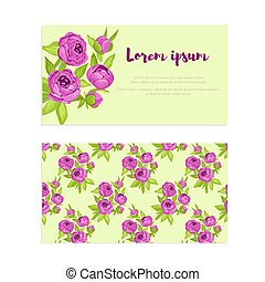 Purple vintage flowers in frame with sign and pattern for wedding invitation, marriage, florist business card, congratulation banner, advertise