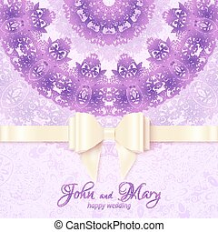 Purple vintage lacy wedding card template