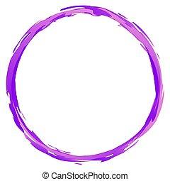 Purple, violet grungy, grunge paintbrush, paint stroke circle, ring vector design element. Sketchy, doodle circle