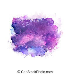 Purple, violet, lilac and blue watercolor stains. Bright ...