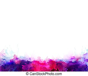 Purple, violet, lilac and pink watercolor stains. Bright color element for abstract artistic background.