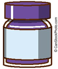 Purple watercolor in bottle on white background