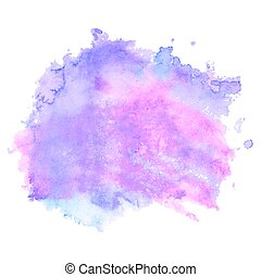 Purple watercolor stain isolated on white background -...