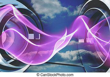 Purple wave design on blue sky