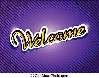 purple welcome card illustration design