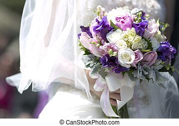 Purple white Wedding Bouquet - Bride holding purple, pink, ...