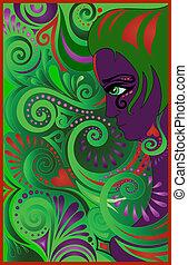 Purple woman on green swirls