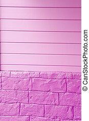 Purple Wood and Brick Wall